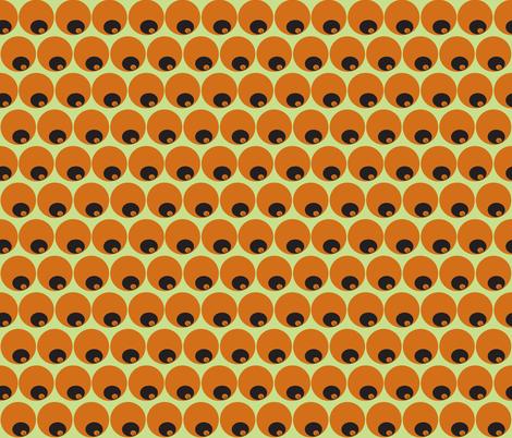 orange circles in circles on green fabric by luluhoo on Spoonflower - custom fabric