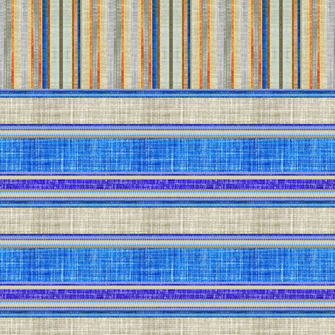Doll split yard faux linen stripe in blue fabric by joanmclemore on Spoonflower - custom fabric