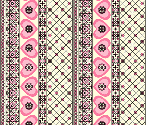 Border Hearts - Pink Blush. fabric by rhondadesigns on Spoonflower - custom fabric