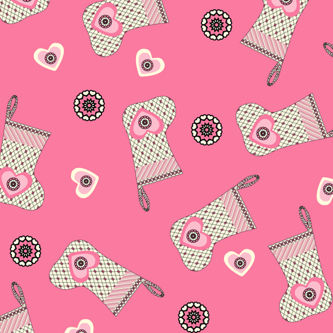 My Heart is on my Stocking - Pink  fabric by rhondadesigns on Spoonflower - custom fabric