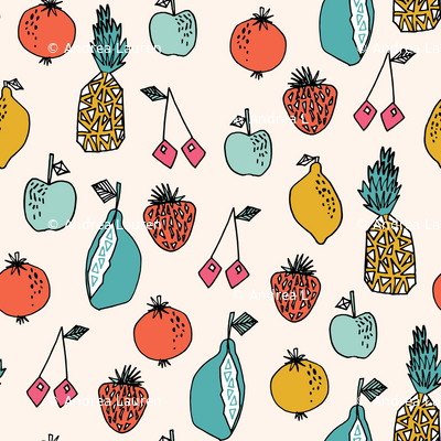 fruits // summer sweet fruits pineapple lemon cherry oranges citrus cute fruit print