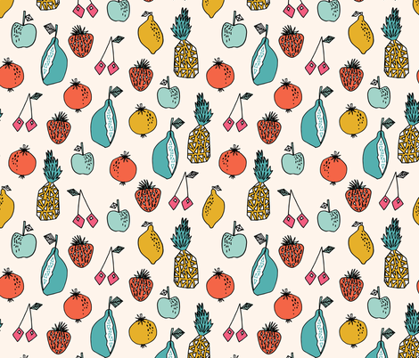 fruits // summer sweet fruits pineapple lemon cherry oranges citrus cute fruit print fabric by andrea_lauren on Spoonflower - custom fabric