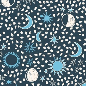 Sun, Moon, Stars - Parisian Blue/Soft Blue/White by Andrea Lauren