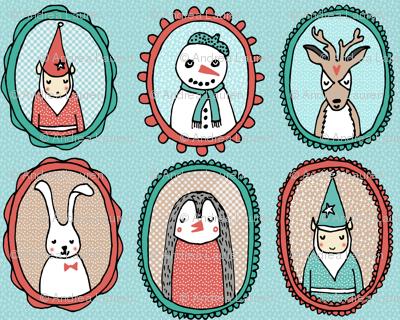 Christmas Portraits // small version christmas deer snowman cute illustration