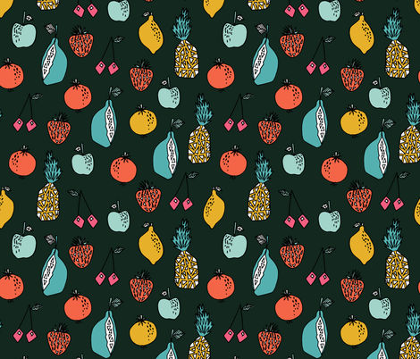 Fruits // summer strawberry lemon lime pear cherry fabric by andrea_lauren on Spoonflower - custom fabric