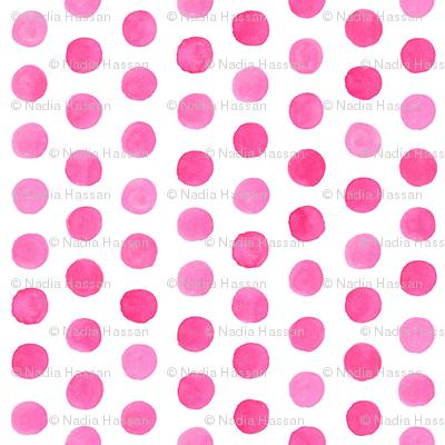 Small Watercolor Dots: Hot Pink