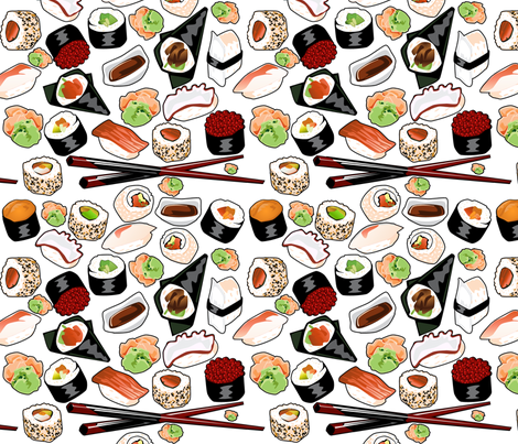 Sushirific Sushi Fabric fabric by lyddiedoodles on Spoonflower - custom fabric