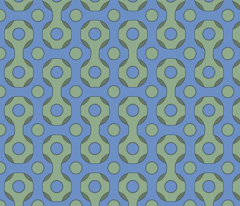 Retro Grid Blue fabric by poetryqn on Spoonflower - custom fabric