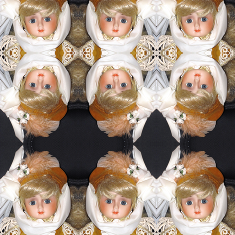 Doll dressed in Gold Colored Velvet fabric by eclectic_house on Spoonflower - custom fabric
