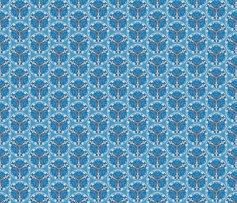 Chinese floral in blue fabric by delsie on Spoonflower - custom fabric