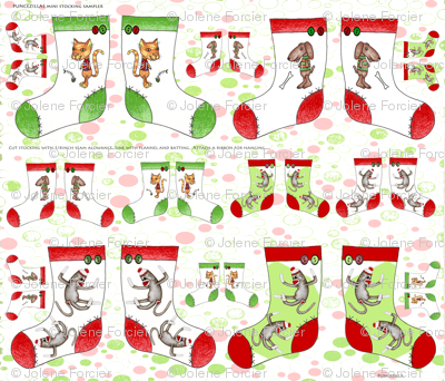 Mini stocking sampler w/ ornaments