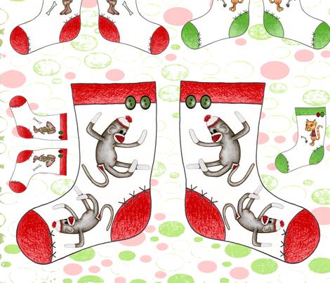 Mini stocking sampler w/ ornaments fabric by puncezilla on Spoonflower - custom fabric
