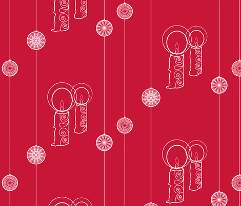 candles and baubles on red fabric by suziedesign on Spoonflower - custom fabric