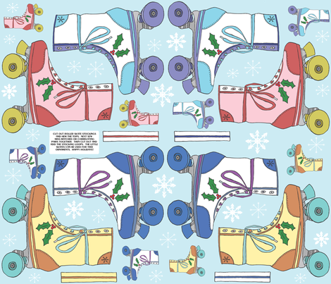 Roller Skate Christmas Stockings Kit fabric by babysisterrae on Spoonflower - custom fabric