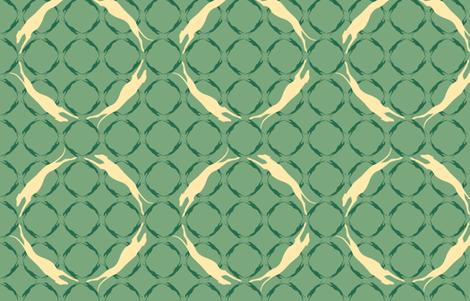 Green Greyhounds GG6  ©2010 by Jane Walker fabric by artbyjanewalker on Spoonflower - custom fabric