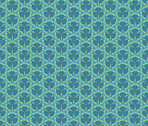 Chinese floral in blue and green fabric by delsie on Spoonflower - custom fabric