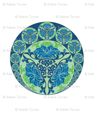 Nouveau Chinese in blue-green