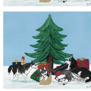 Xmas 20x16 Husky Christmas Tree LAB