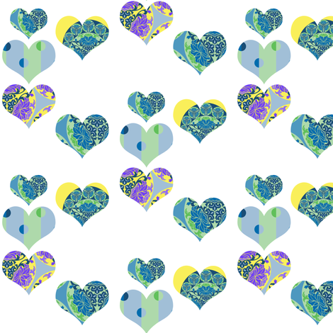 Happy Hearts in multi fabric by delsie on Spoonflower - custom fabric