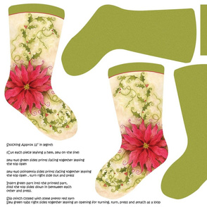 Poinsettia Christmas Stocking Fat Quarter