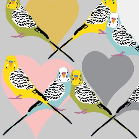 I Heart Budgies fabric by owlandchickadee on Spoonflower - custom fabric