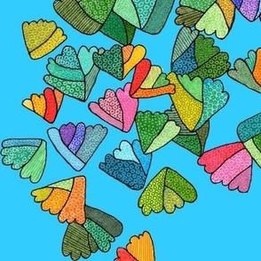fern leaf pattern in blue