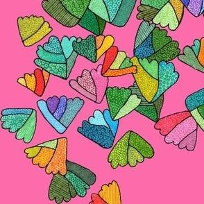 fern leaf pattern in pink