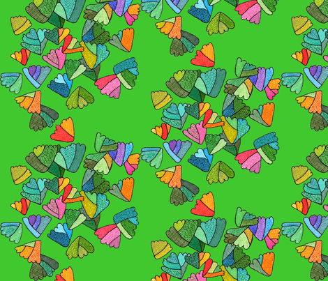 fern leaf pattern in dark green fabric by aprilmariemai on Spoonflower - custom fabric