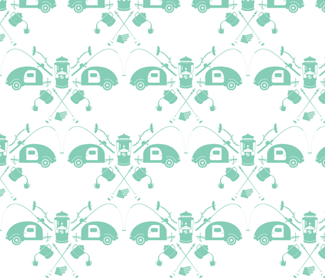 camping-mint fabric by bunnypumpkin on Spoonflower - custom fabric