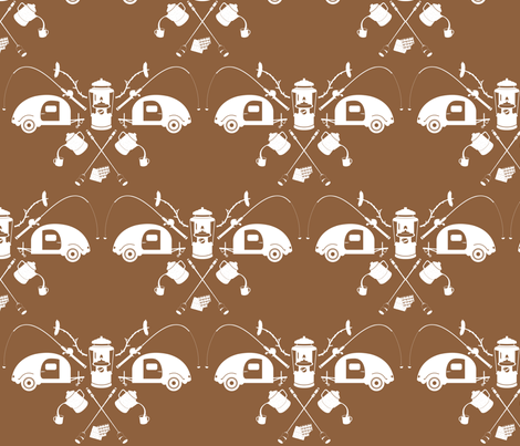 camping-chocolate fabric by bunnypumpkin on Spoonflower - custom fabric
