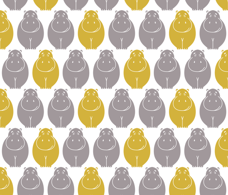 HIppos- yellow pop! fabric by newmomdesigns on Spoonflower - custom fabric
