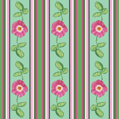 small pink rose and_leaves_stripes_3_12c  fabric by khowardquilts on Spoonflower - custom fabric