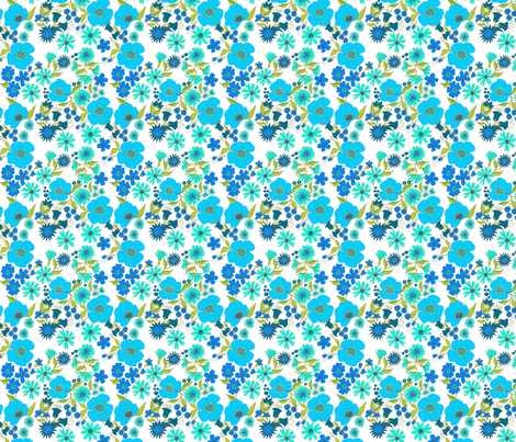 douce_fleur_turquoise fabric by nadja_petremand on Spoonflower - custom fabric
