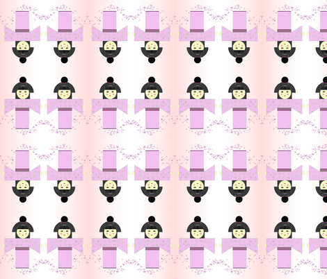 Japanese Girl in Pink fabric by sew_delightful on Spoonflower - custom fabric