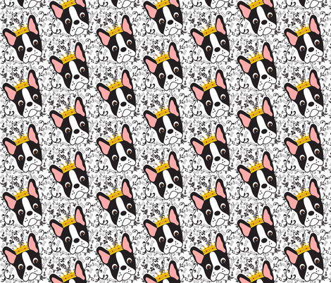 Queen Daisy the Boston Terrier fabric by missyq on Spoonflower - custom fabric
