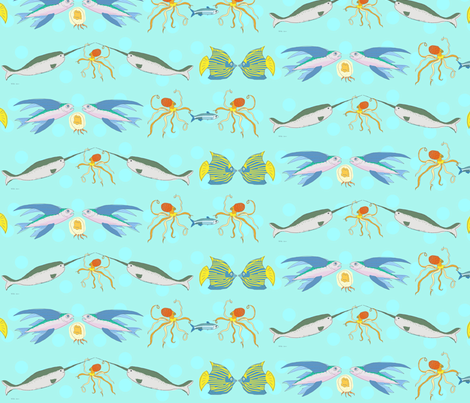Fishes Border fabric by lemonadefish on Spoonflower - custom fabric