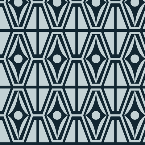 Metro Retro - Midcentury Modern Geometric Blue fabric by heatherdutton on Spoonflower - custom fabric