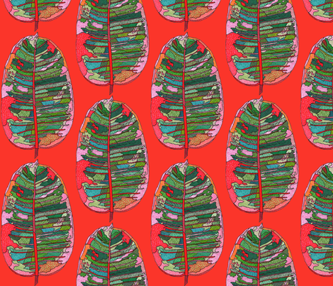 rubber leaf in red fabric by aprilmariemai on Spoonflower - custom fabric