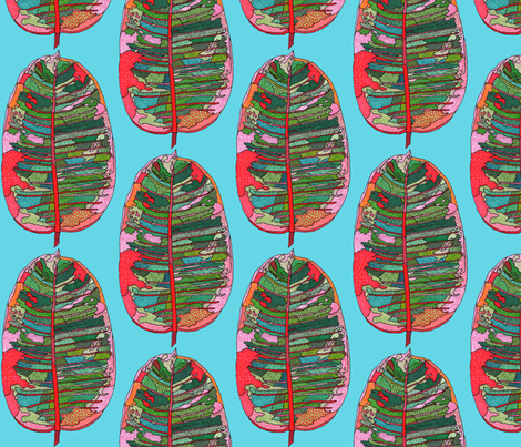 rubber leaf in blue fabric by aprilmariemai on Spoonflower - custom fabric