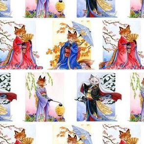 Japanese Kimono Foxes