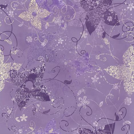 Vintage Garden Purple fabric by kamiekazee on Spoonflower - custom fabric