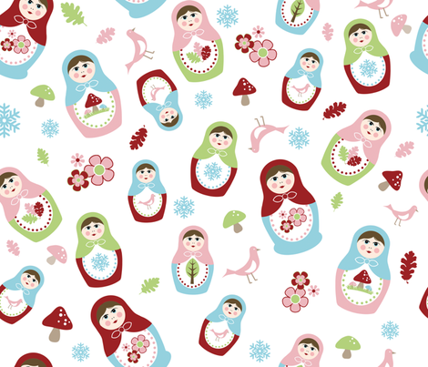 Matryoshka Dolls - 4 Seasons fabric by inktreepress on Spoonflower - custom fabric