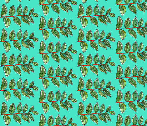 branch in teal fabric by aprilmariemai on Spoonflower - custom fabric
