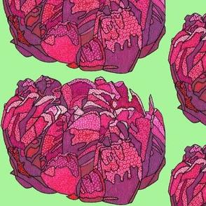 fuchsia peony in green