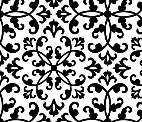 Contessa - black on white fabric by pixeldust on Spoonflower - custom fabric