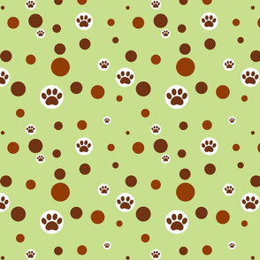 paw print polka-dot browns on light green