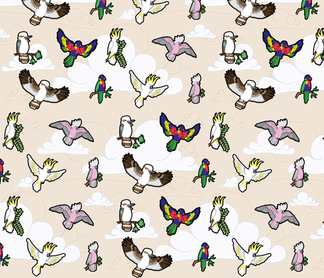 Australian Birds fabric by thickblackoutline on Spoonflower - custom fabric