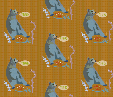 swear bear fabric by junej on Spoonflower - custom fabric