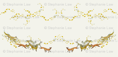 Foxes and Gingko Swirls