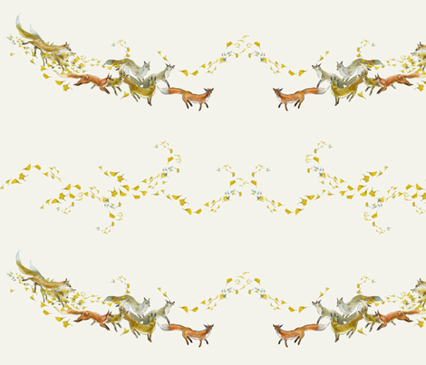 Foxes and Gingko Swirls fabric by puimun on Spoonflower - custom fabric